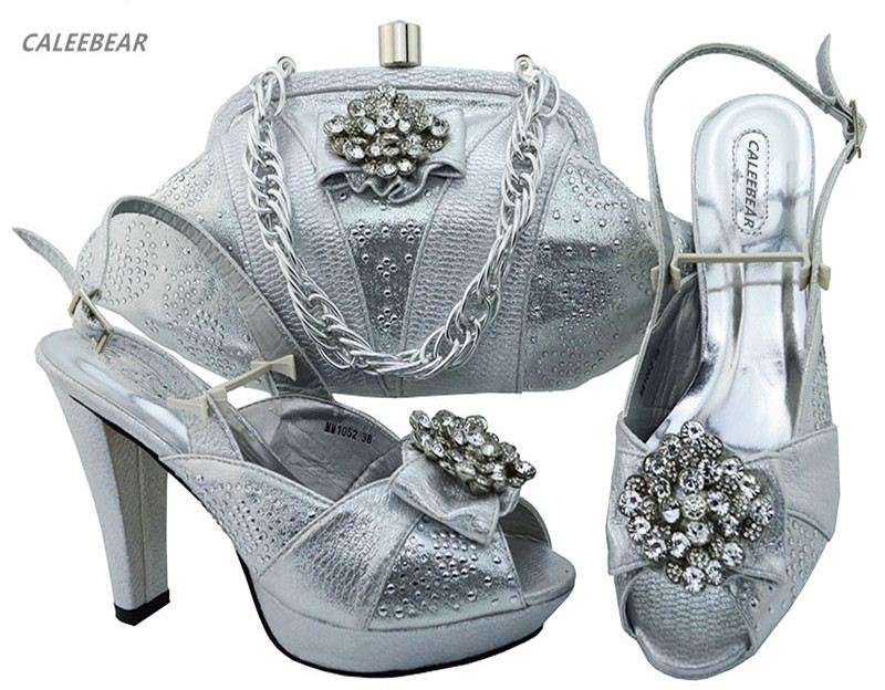 and evening For shoes bags women Silver with bag shoes Party shoes matching Italian set ladies fwSSqYOt