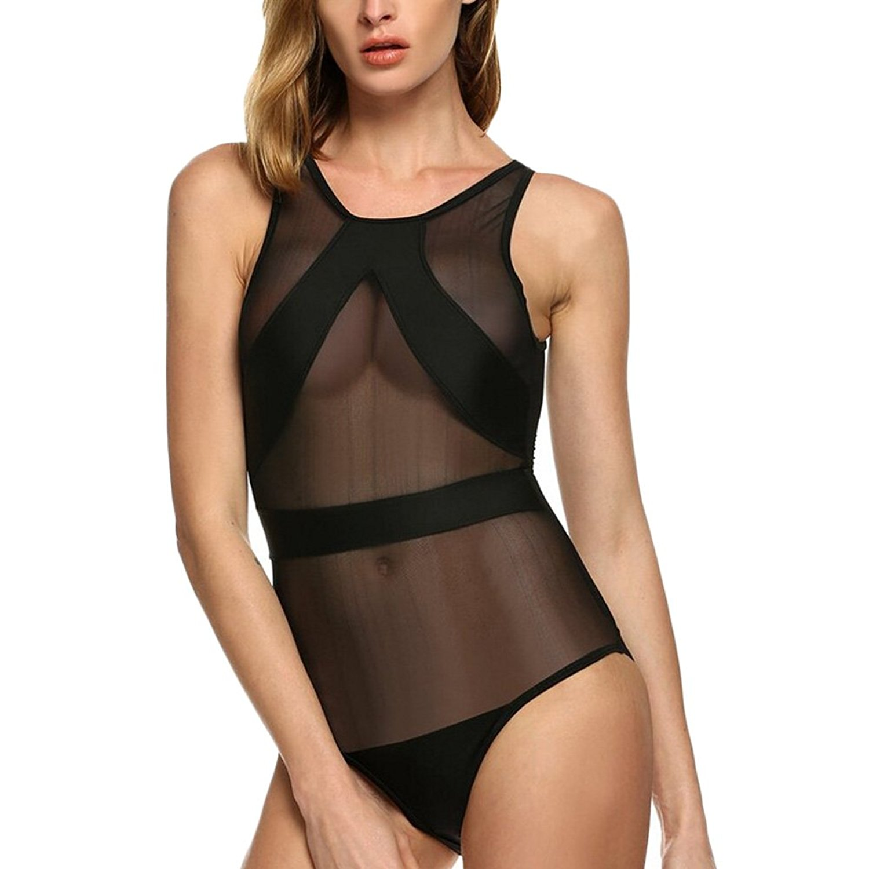 c1517c73825c1 Get Quotations · Women Black Mesh Sheer Swimwear One Piece Transparent  Bodysuit Beachwear Swimsuit