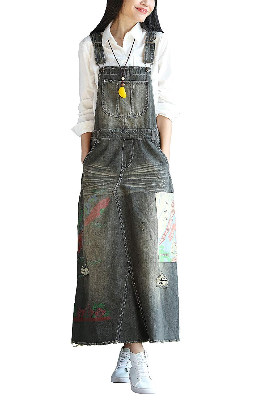 eda80612fcc Get Quotations · Soojun Women s Elegant Ankle Length Denim Bib Overall Dress
