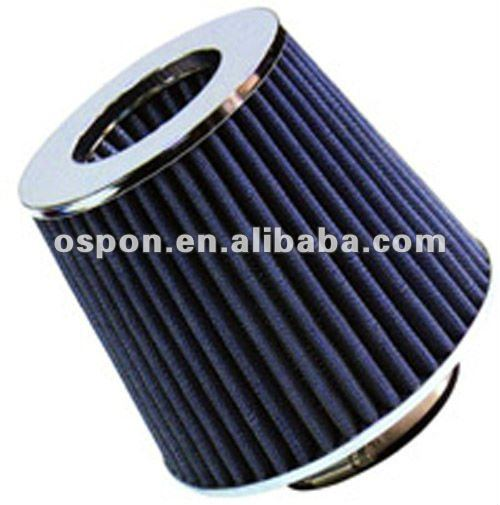 "2.5"" HIGH FLOW DRY CONE COLD AIR SHORT RAM INTAKE FILTER CHROME TOP BLUE"