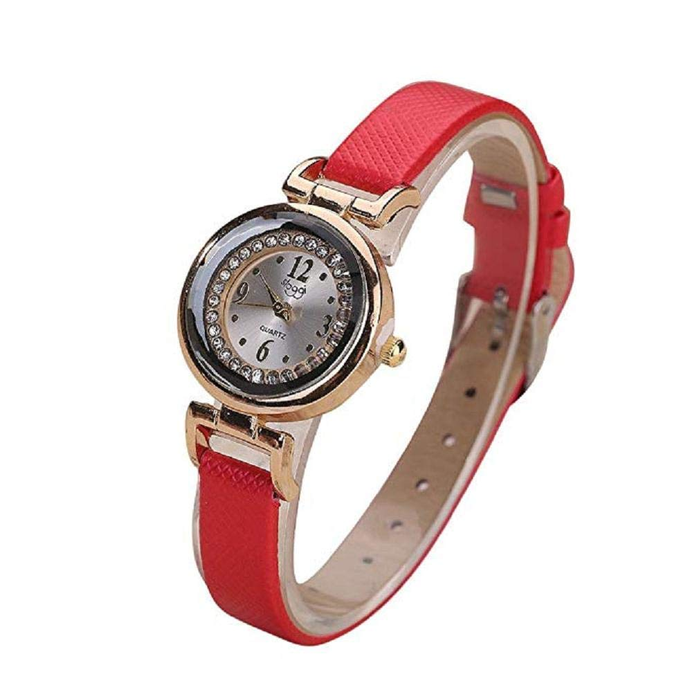 Big Promotion Windoson Women Quartz Watches Clearance Analog Ladies Watches Girl Watches Thin Leather Female Watches (Red)
