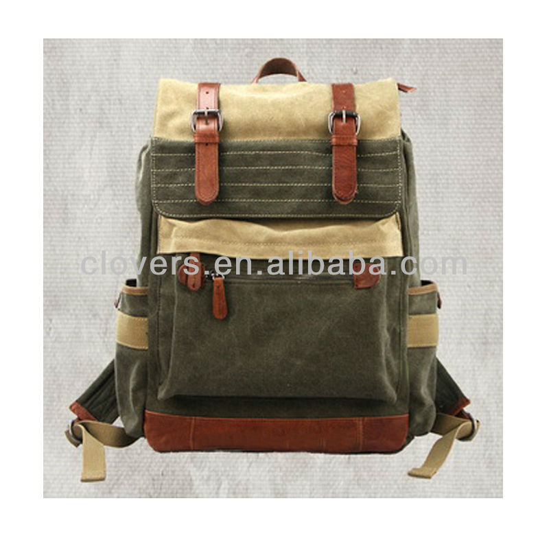 Slate canvas tramp fashion bags ladies handbags leather trimmed unisex