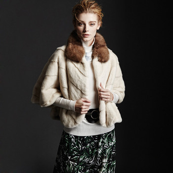 Short White Mink Fur Jacket Bat Style with Sable Fur Collar Coat