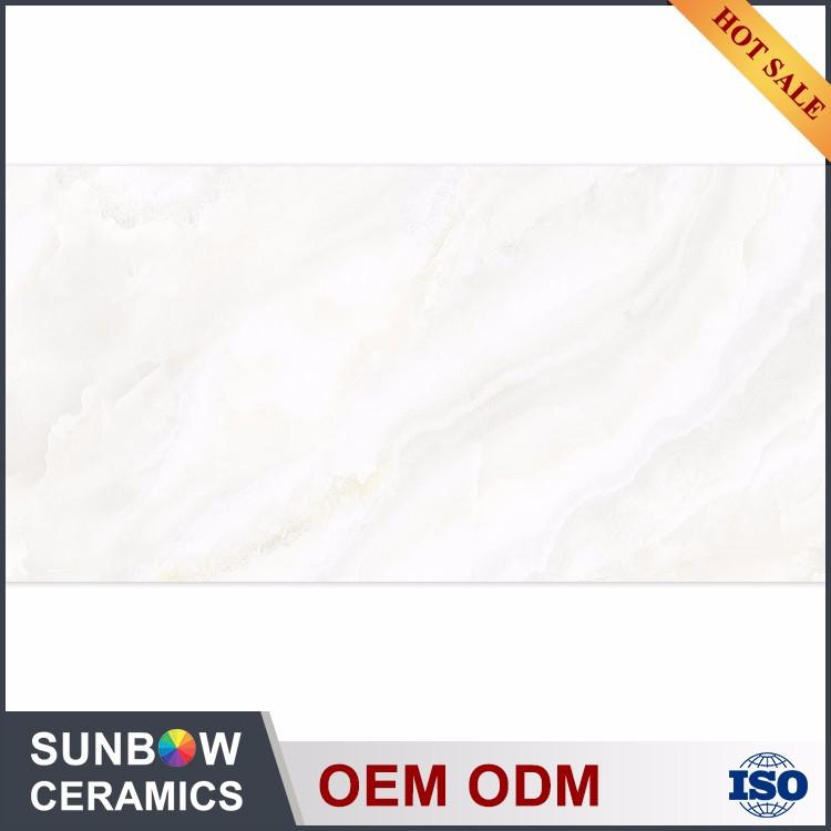 Rectangular Waterproof Pure Color White Wave Ceramic Tile 400x800