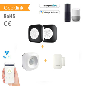Geeklink Wifi smart home security sets devices small motion sensor door sensor and remote controller home alarm system