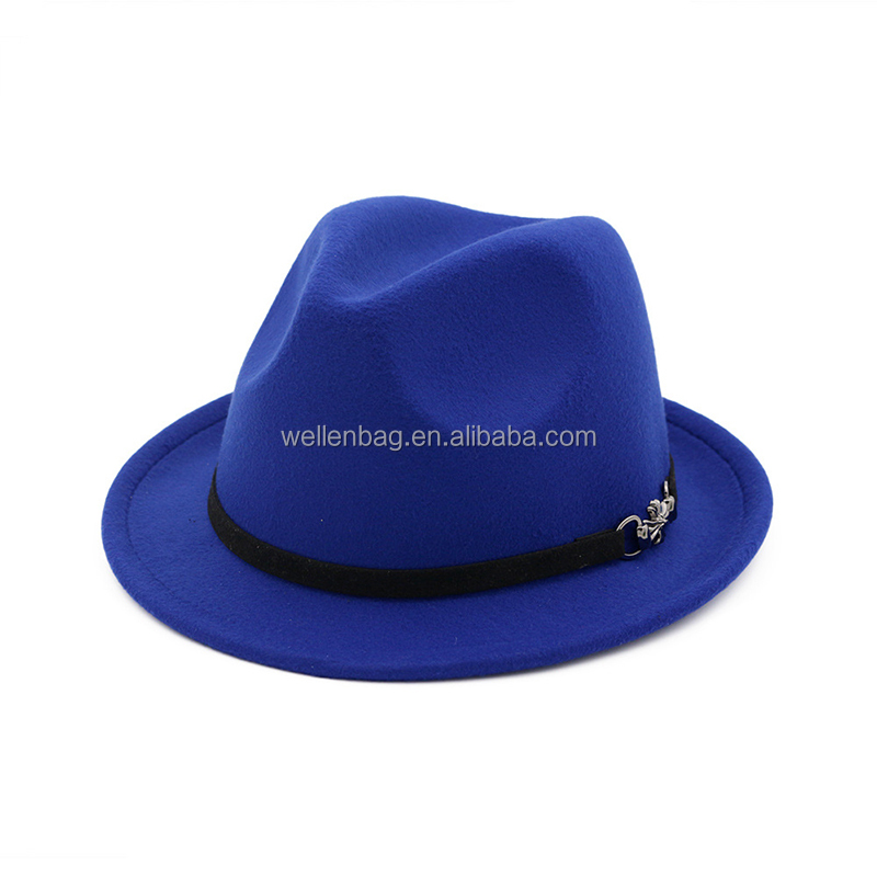 In Stock Fashion Bulk Sale Customized Made Fake Wool Felt Mens Women Woolen Hat Short Brim Fedora Hat Wholesal