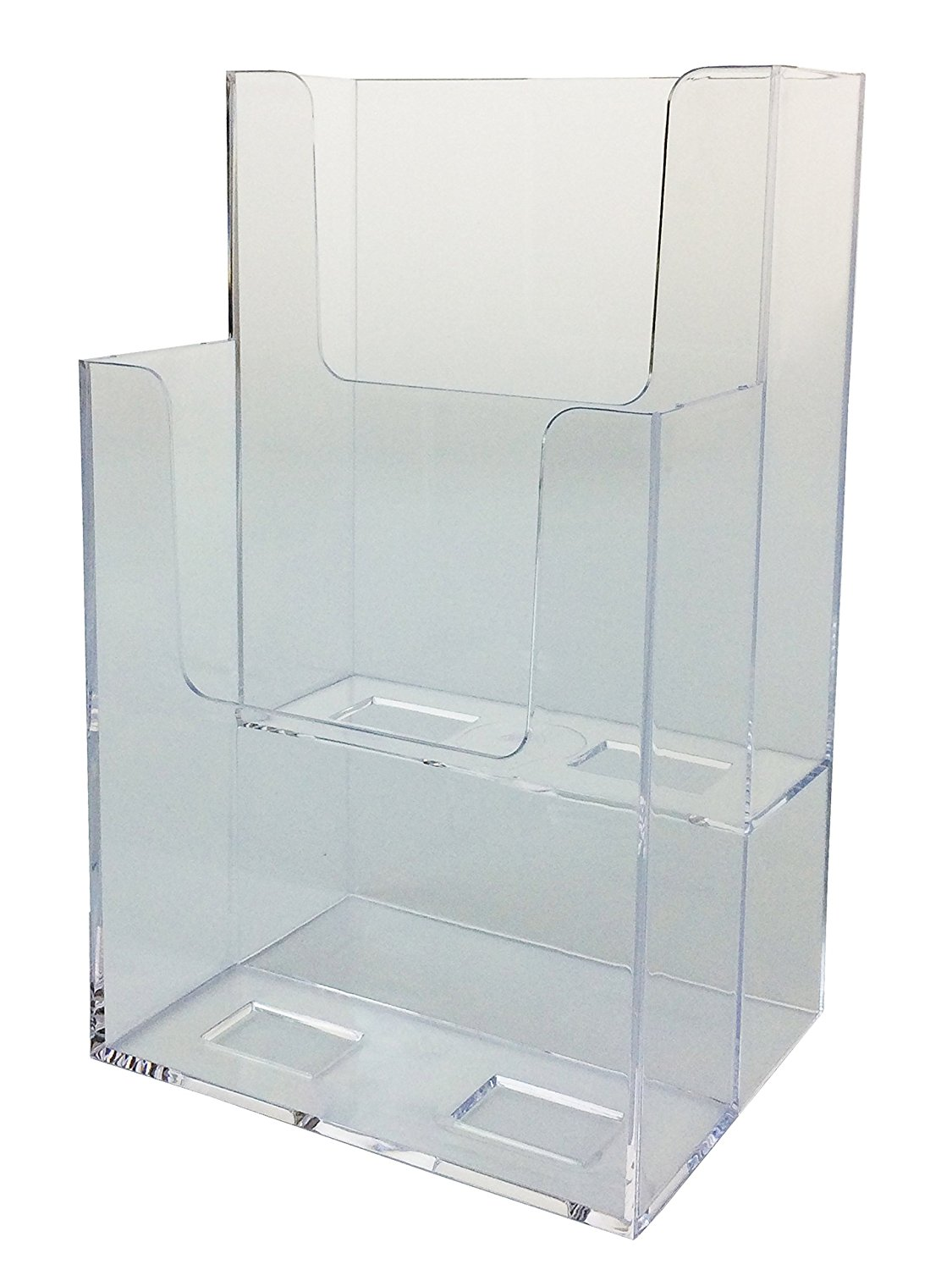 Marketing Holders 2 Tier Clear Acrylic Brochure Holder Literature Display for 4x9 Pamphlets 50 Pack