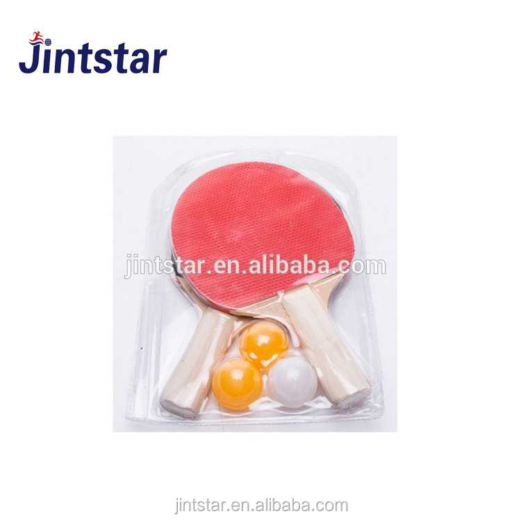 cheap price good quality wooden table tennis rackets with three ping pong balls