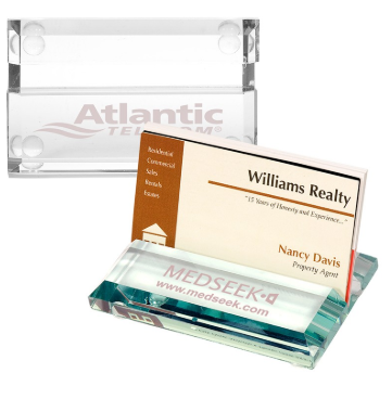Jade Glass Square Name Card Holder Office Set For Business Gifts