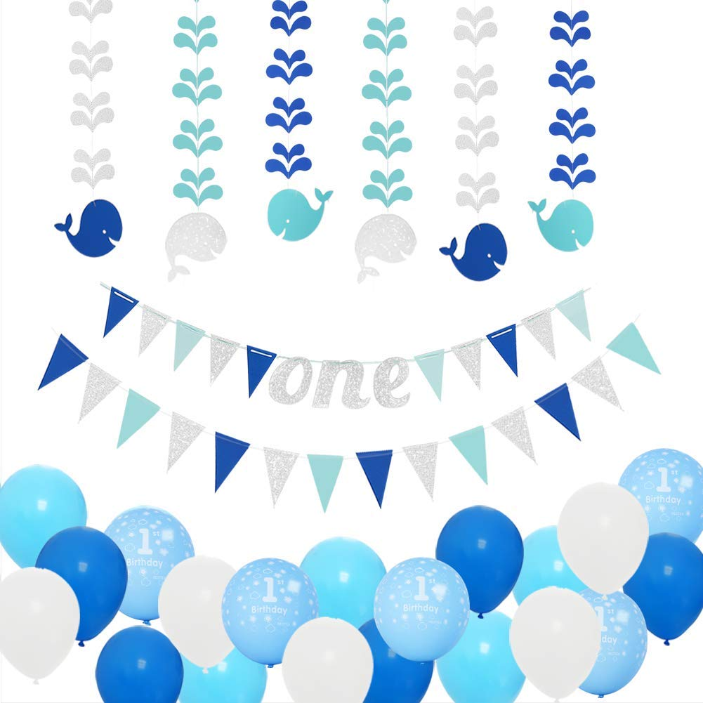 Get Quotations 1st Birthday Boy Decorations Kit Baby First Party Blue Silver One