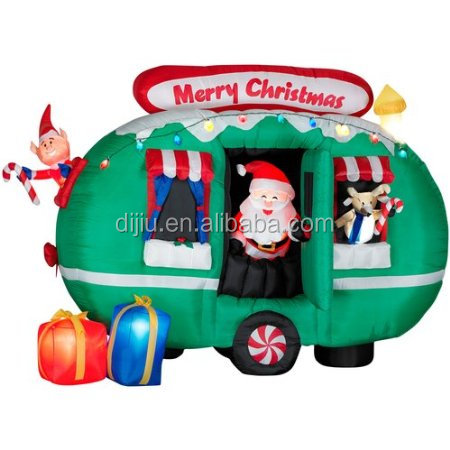 Inflatable Santa Claus in an RV Camper christmas decoration
