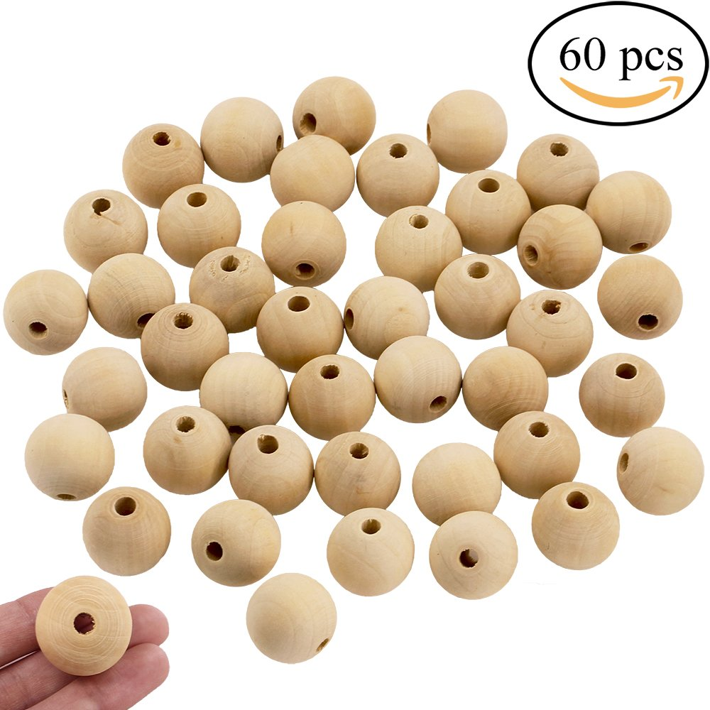 Supla 60 Pcs Unfinished Natural Solid Round Wood Spacer Beads 1 inch Diameter Wooden Loose Beads Balls for DIY Art & Craft Project and Jewelry Making