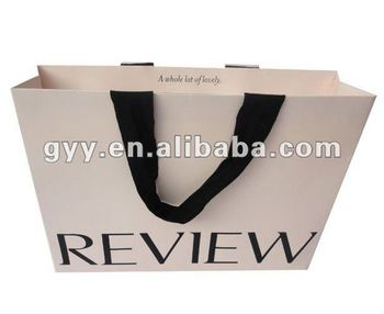 White Garment Paper Bag With Hidden Handle Small Bags Handles Cut Out Gift Ribbon Product On