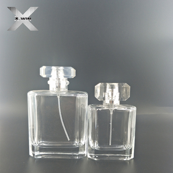 Clear new style hot sales 100 ml 50 ml perfume glass bottle
