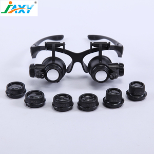 Jaxy classical 10X15X 20X 25X headset loupe magnifier with 2 LED light and replace lens for reading and watch repairing