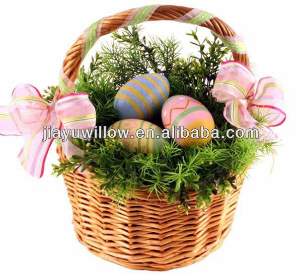 Vintage osier manipulée fleur œuf de Pâques Cadeau Panier Mariage Stockage Panier Trug