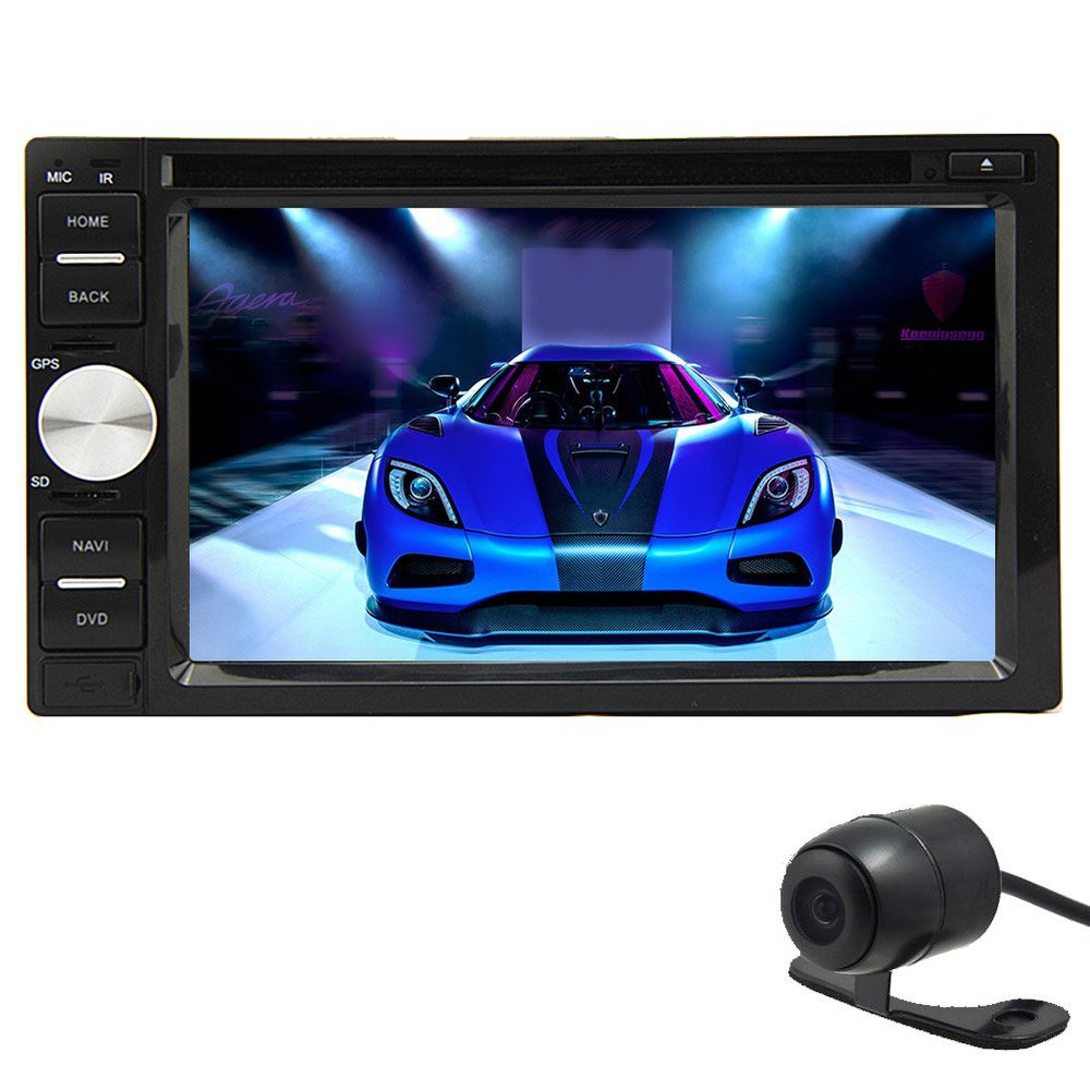 "6.2"" Double DIN Bluetooth Touch-Screen Car Radio Stereo radio CD/DVD Player Bluetooth USB, SD Aux Input + Free backup camera"