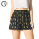 Custom Ladies Floral Print Wide Elastic Waist Lace Trim Pleated Black Shorts