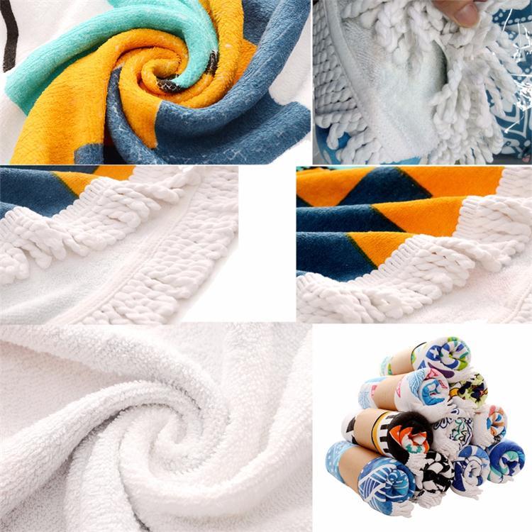 Custom Printed Mandala High Quality Microfiber Round Beach Towel