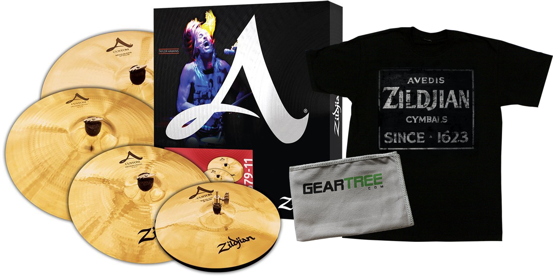 Zildjian A20579-11 A Custom Box Set (14in Hats, 16in Crash, 20in Ride, Free 18in
