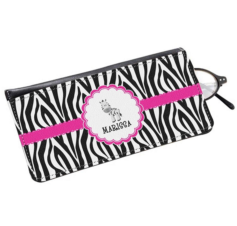 Zebra Genuine Leather Eyeglass Case Personalized