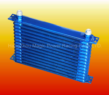 14 ROW 10AN POWDER-COATED ALUMINUM ENGINE/TRANSMISSION RACING OIL COOLER BLUE
