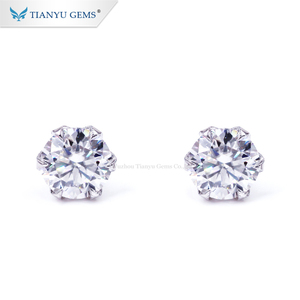 Tianyu Gems custom 1ct round shape earring simple style gold earrings designs for girls