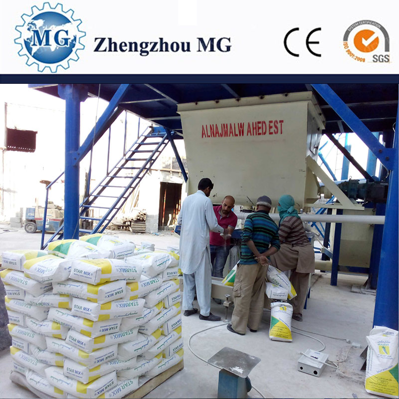 Big construction using dry mortar batch mixing plant for building