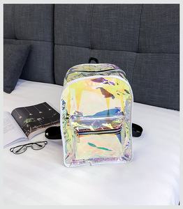 women waterproof clear shoulder bag pvc laser school bag hologram backpack