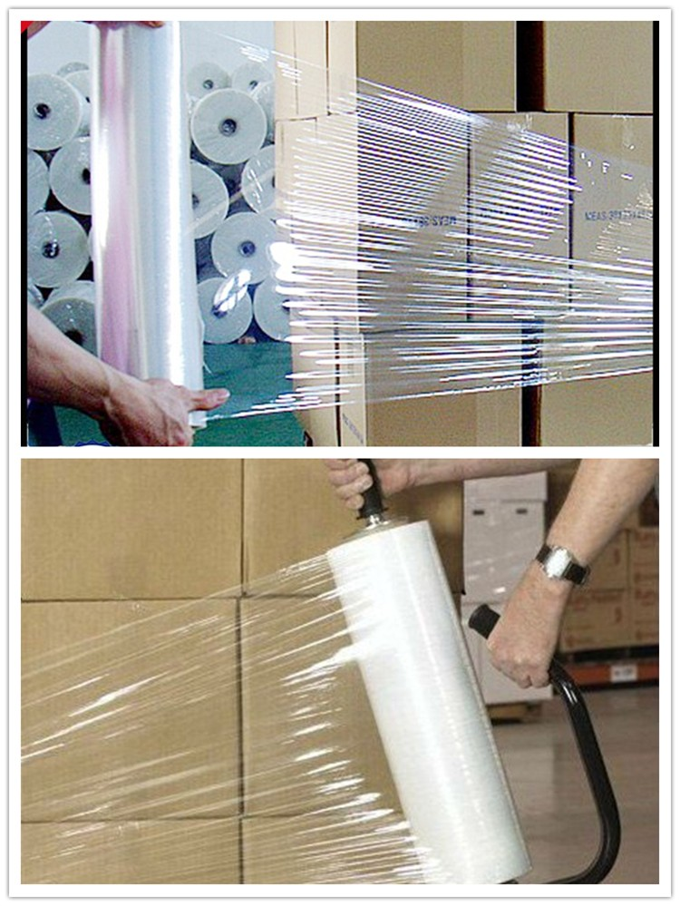 Professional manufacturer Good price high quality 23mic hand wrap pet lldpe stretch film jumbo roll for pallet wrapping