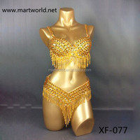 2016 new design gold belly dance sexy egypt costume (XF-077 gold)