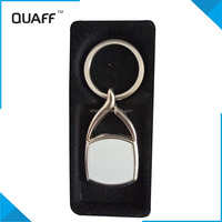 QUAFF cheap custom metal keychain for sublimation ,heat transfer