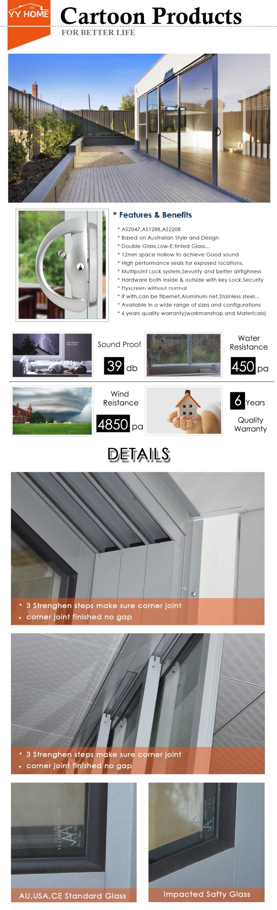 YY Home Australia standard double glazed soundproof insulated aluminium collapsible doors with blinds inside
