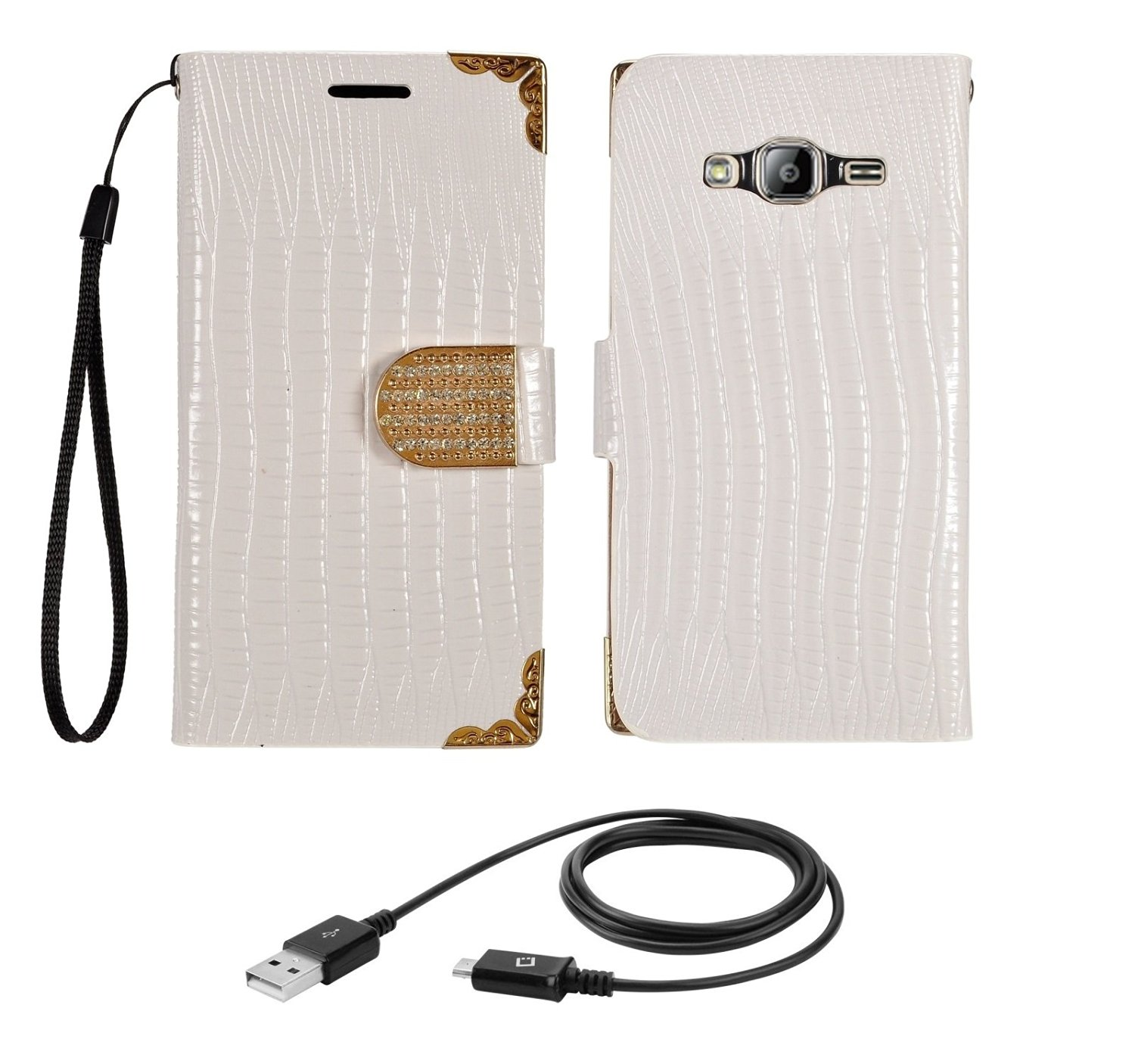 Samsung Galaxy J3 - White [ID Card Wallet Pouch] Luxury Diamond Case, Atom LED and Charge/Sync Micro USB Data Cable [3ft. Length]