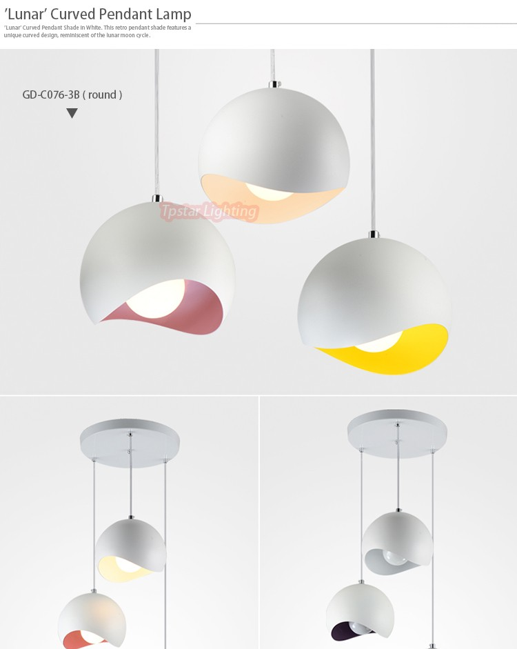 Modern Design Colored Inner Curved Dome Ceiling Pendant Light ...