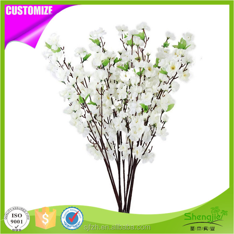 Wholesale cheap artificial silk cherry flower blossoms white branches