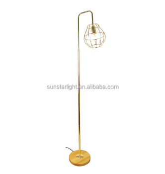 Hot Ing Natural Wood Base Floor Lamp With Cage Shade Light High Quality Ok
