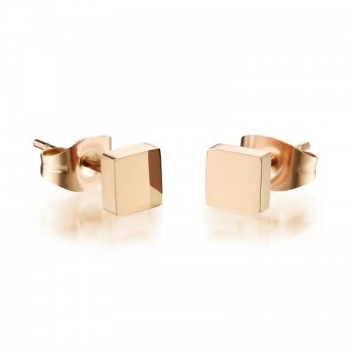 gb0616313 Yellow Gold Plated Square Shape Gold Stud Earrings