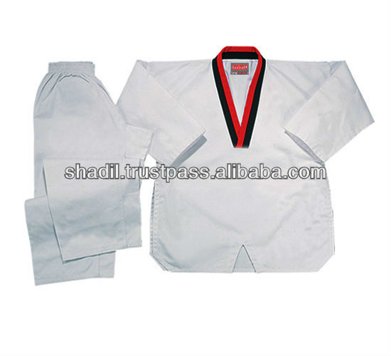 White Taekwondo Uniforms dobok Red Black V