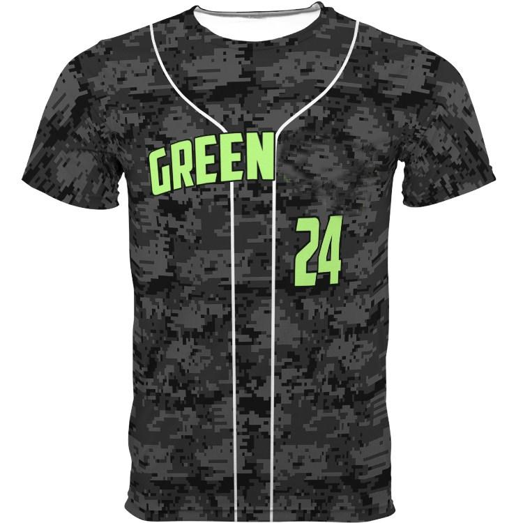 Button Down Mesh Baseball Shirts Wholesale Sublimation Printing Camo Baseball Jersey