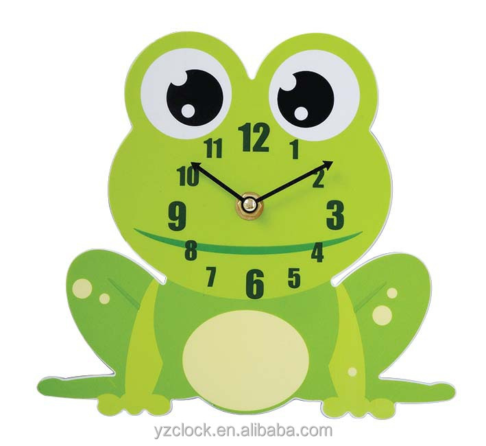 Plastic promotional OEM frog shape wall clocks
