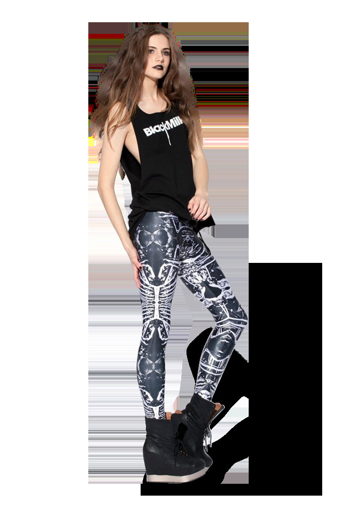 East Knitting Women Bone Leggings.Skull 3D Print False Skeleton Sexy Woman Sports Fitness Pants