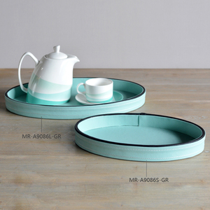 New arrival light blue leather tray table decoration
