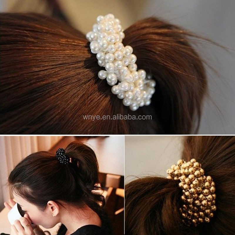 New Fashion Lady Pearls Beads Elastic Hair Rope Scrunchie Ponytail Holder
