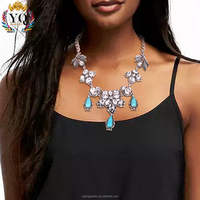 NYQ-00749 New arrival super quality shining turquoise flower crystal jewelry