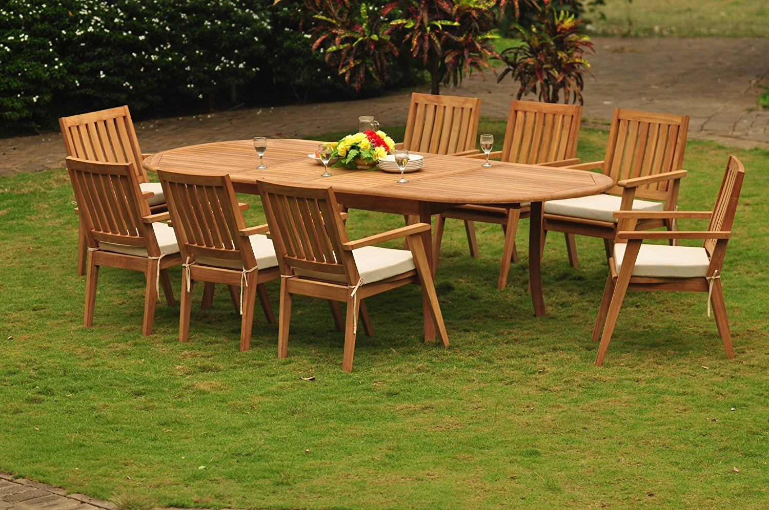"""TeakStation 8 Seater Grade-A Teak Wood 9 Pc Dining Set: 117"""" Double Extensions Oval Dining Table and 8 Palmer Stacking Arm / Captain Chairs #TSDSPMy"""
