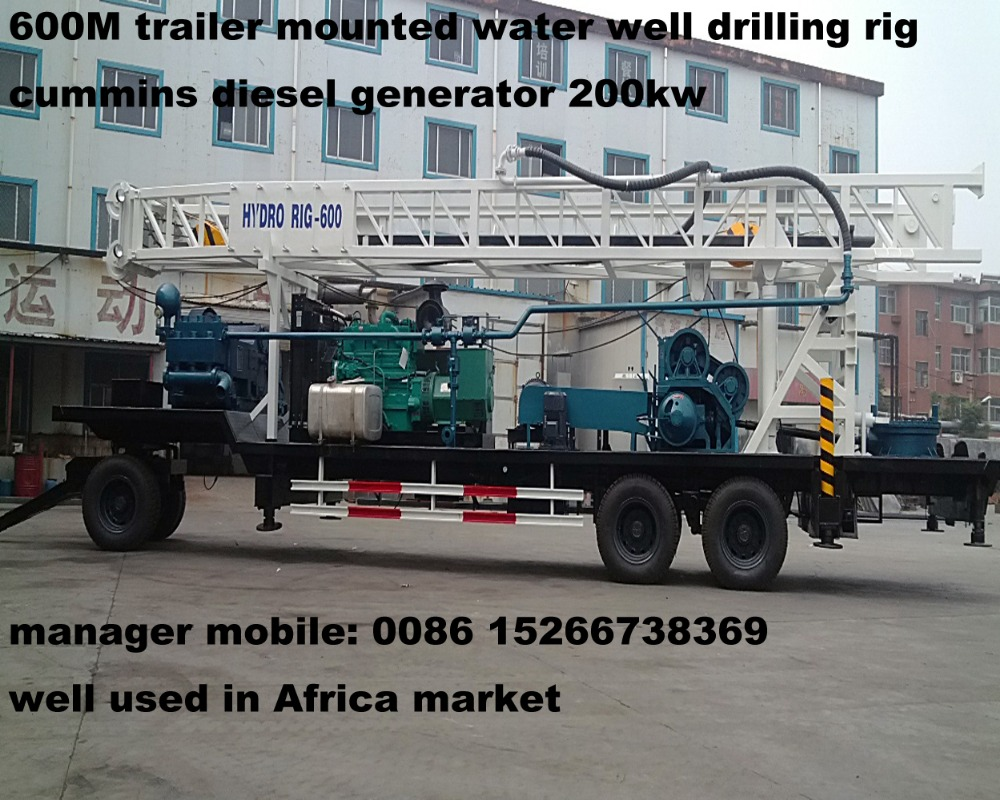 600m trailer mounted water well drilling rig BZT600