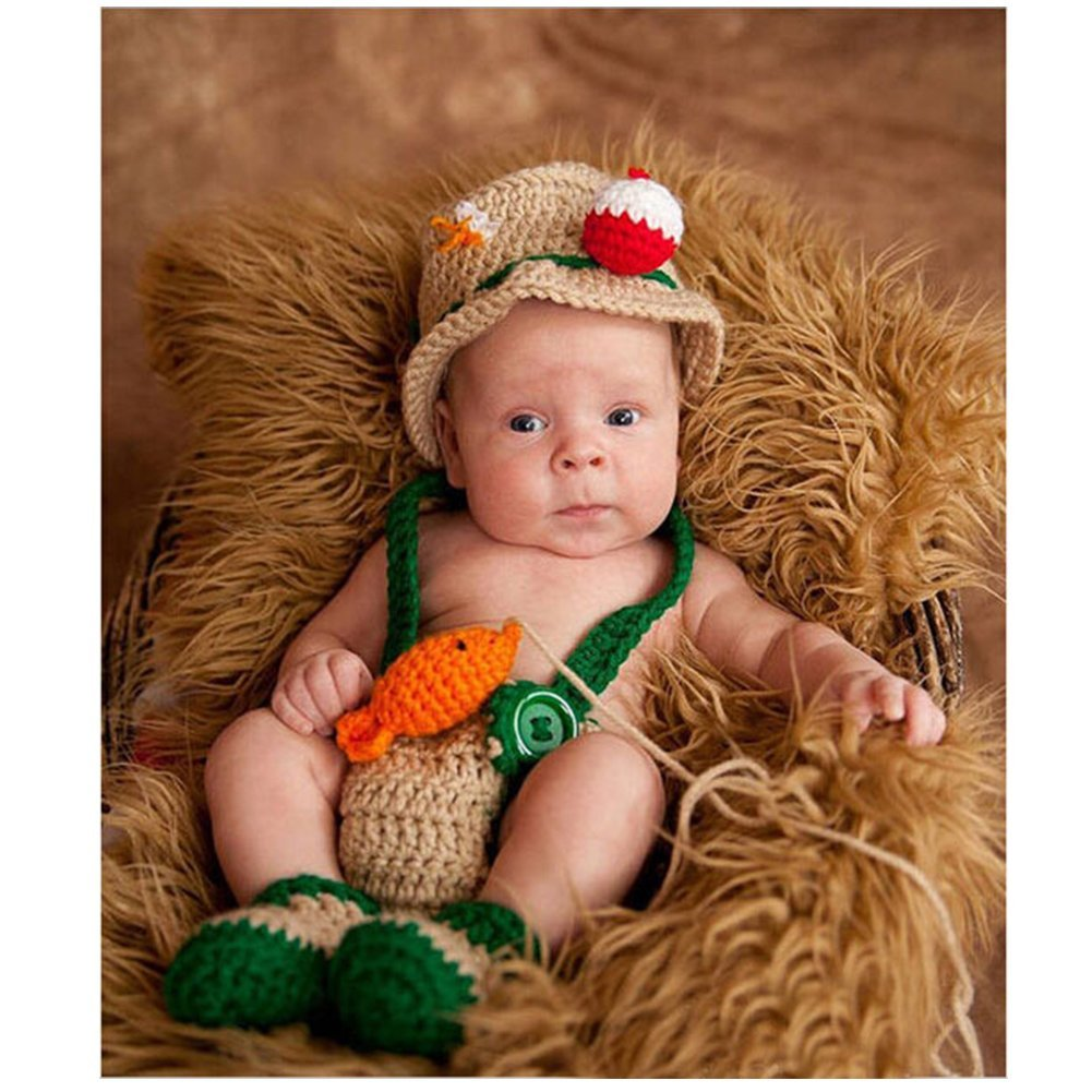 71d0d5e7373a Newborn Photography Props Baby Boy Girl Photo Outfits Crochet Knitted  Costume Cute Fishermen