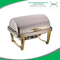 9L Hotel Full Size Gold Accented Roll Top Chafer