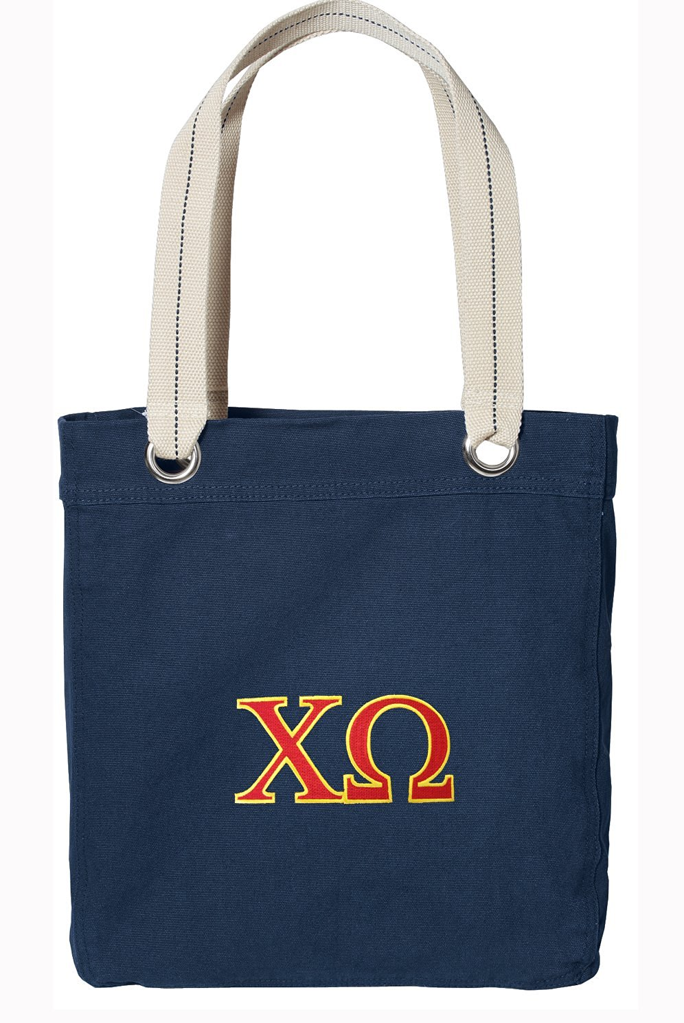 Chi Omega Tote Bag RICH Dye Washed Navy COTTON CANVAS